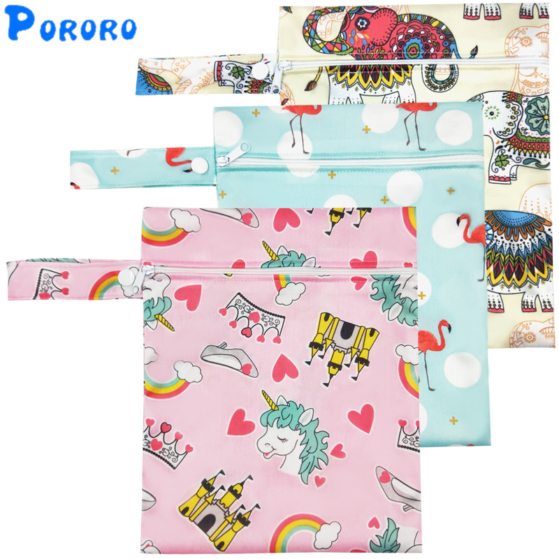Waterproof Wet Bag Printed Pocket Nappy Bags Reusable PUL Travel Wet Dry Bags Mini Wetbags 25x20cm Cartoon Diaper Bag Wholesale