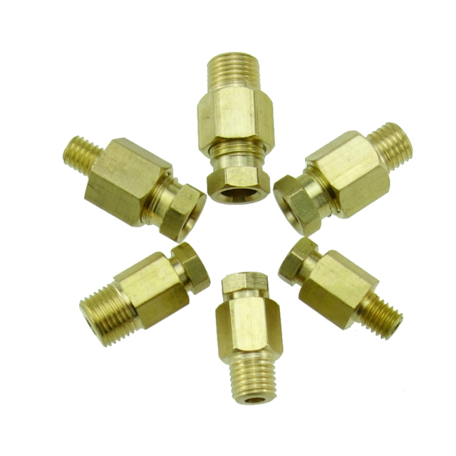 "2pcs Fit 6-12mm OD Tube 1//8/"" 1//4/"" BSP Male Tee Nikel Plated Brass Fitting"