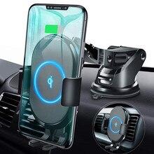 Qi 자동차 무선 충전기 마운트 아이폰 11 XS XR X 8 Xiaomi 삼성 갤럭시 S10 S9 자동 클램핑 10W 빠른 충전 전화 홀더
