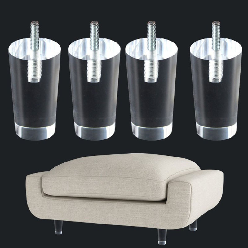 4PCS 100mm Sofa Legs Clear Furniture Feet Acrylic Bench Legs Modern Cabinet Cupboard Coffee Table Legs Pyramid Couch Feet