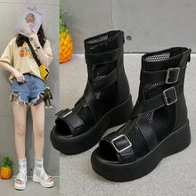 2020 new summer fashion wild Roman sandals female thick bottom muffin net boots hollow fish mouth Z995