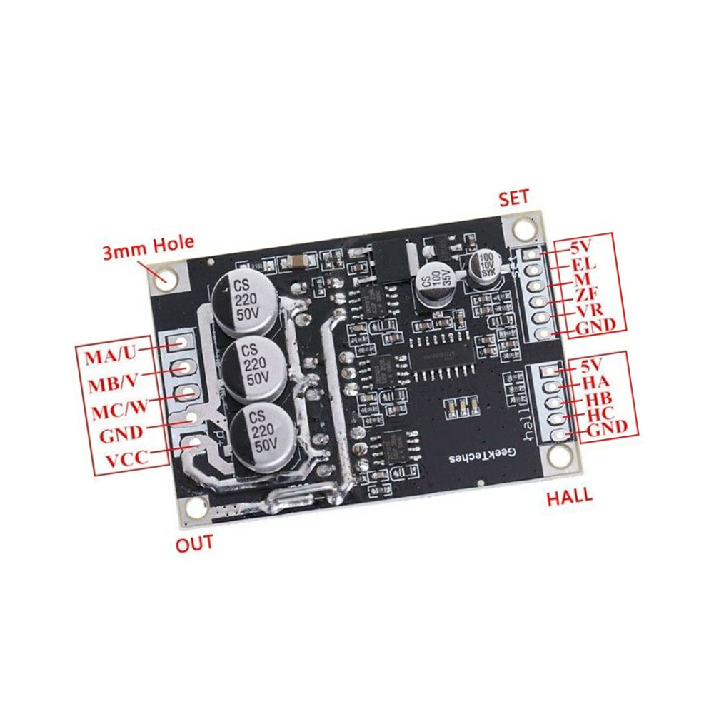 2019 New High Quality 15A 500W DC12V-36V Brushless Motor Speed Controller BLDC Driver Board With Hall
