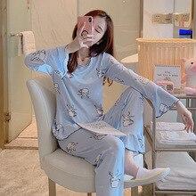 New plus size womens pajamas Sets Spring Autumn Women Long S