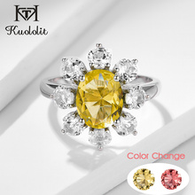 Kuololit Diaspore Gemstone Ring for Women sterling silver 925 jewelry Ring Yellow Pink Gemstone for Wedding Bride Fine Jewelry