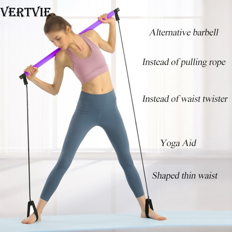 VERTVIE Pilates Stick Bar With Resistance Bands Portable Fitness Pilates Bar Bodybuilding Rubber Tube Bands Yoga Exercise Work