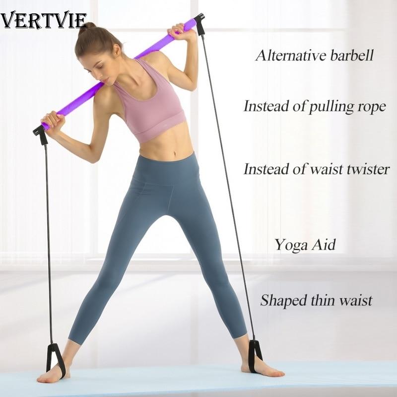 VERTVIE Pilates Stick Bar With Resistance Bands Portable Fitness Pilates Bar Bodybuilding Rubber Tube Bands Yoga Exercise Work