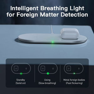 Image 5 - BASEUS 2 in 1 Qi Wireless ChargerสำหรับiPhone 11 PRO MAX X Airpods 15W Fast Wireless CHARGINGเหนี่ยวนำไร้สายCharger