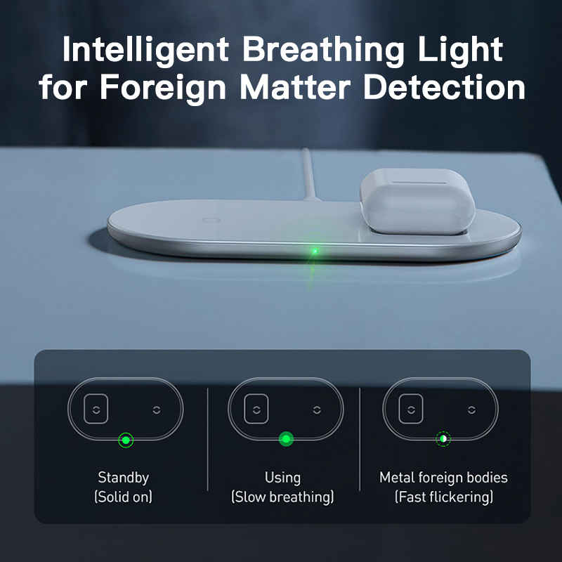 Baseus 2 in 1 Dual Qi Wireless Charger For iPhone 11 Pro Max X Airpods 15W Fast Wireless Charging Pad Induction Wirless Charger