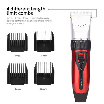 Professional Hair Trimmer Hair Clipper Rechargeable Ceramic Blade Hair Cutting Electric Shaver for Men Beard with 4 Limit Combs 2
