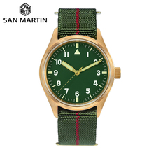 San Martin Pilot Military Watch Bronze Men Wristwatch Nylon Elastic Strap  Sapphire Water Resistant 200M Luminous часы мужские