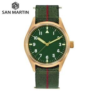 Image 1 - San Martin Pilot Military Watch Bronze Men Wristwatch Nylon Elastic Strap  Sapphire Water Resistant 200M Luminous часы мужские