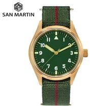 San Martin Pilot zegarek wojskowy brązowy męski zegarek nylonowy elastyczny pasek szafirowy wodoodporny 200M Luminous часы мужские