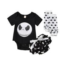 Новинка, футболка для маленьких девочек на Хэллоуин, топы, комбинезон, юбки, носки, комплект одежды из 3 предметов