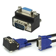 VGA 15 Pin Male To Female M/F 90 degree Right Angled Adapter Cord Monitor Connector