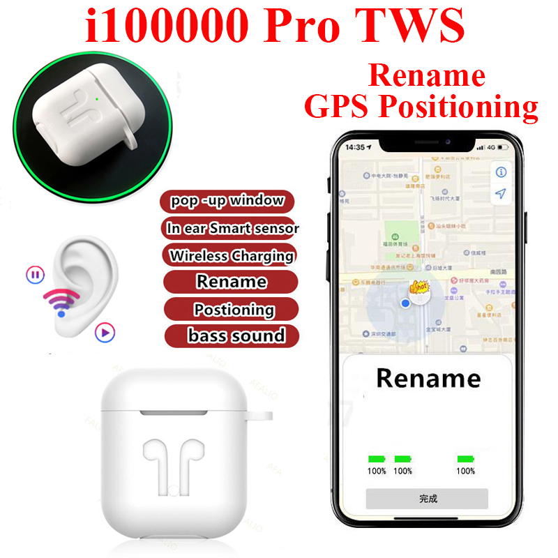 i100000 Pro <font><b>TWS</b></font> Airpodering Change The Name+GPS Positioning Wireless Bluetooth Earphone <font><b>Smart</b></font> <font><b>Sensor</b></font> Airpots for Iphone Samsung image