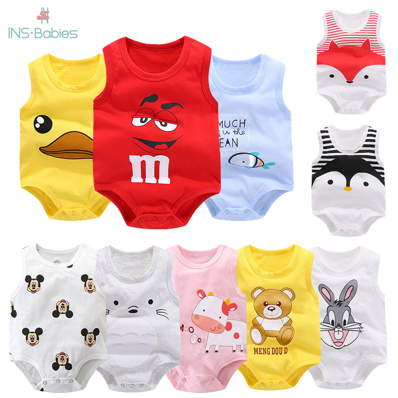 Baby Bag Fart Summer Pure Cotton Vest Clothes Baby Boy Sleeveless Cartoon Bodysuit 2020 New Clothes Newborn Girl Climbing Pajama