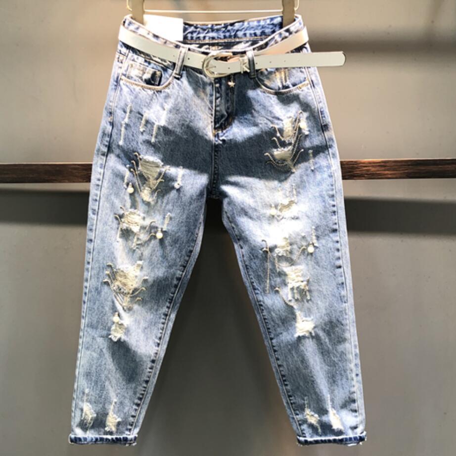 Hole Jeans Women 2020 Spring Summer New Loose  Wide Leg Beggar Pants Harem Pants