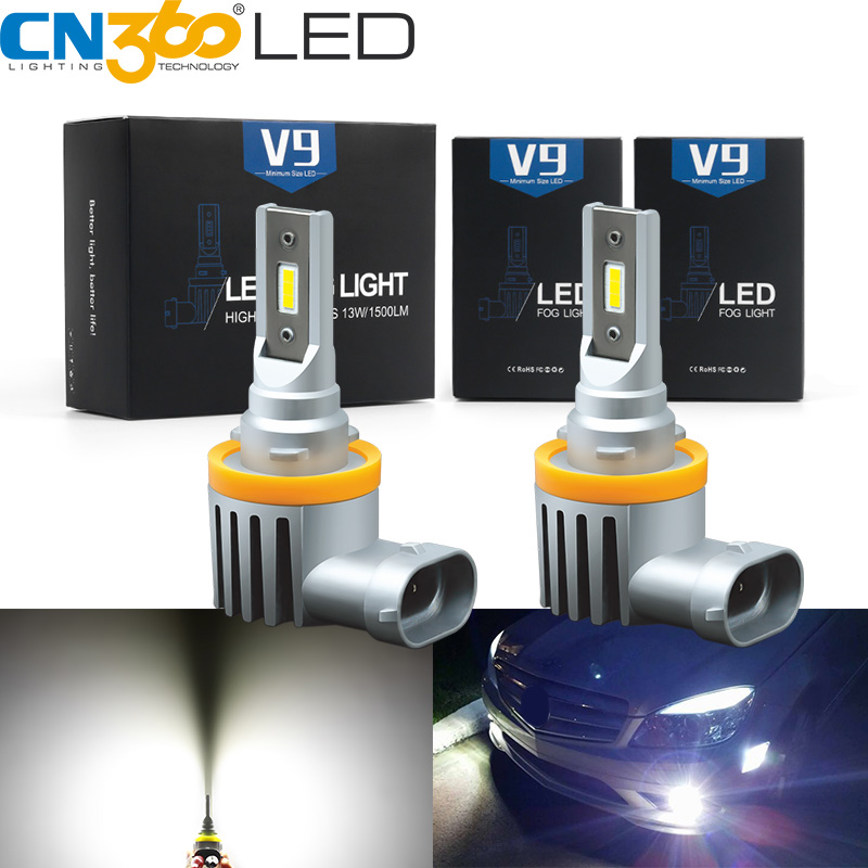 CN360 2pcs H11 H8 H9 Led Car Fog Light Bulbs 9005 9006 Auto Lamp H1 H3 H16 880 881 H27 Fog Lamp DRL CSP 12V 6500K 3000LM White