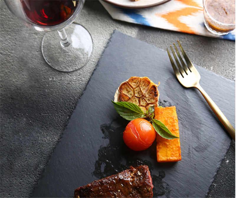 Doğal siyah batı kayrak taş yemekleri katı kare suşi biftek barbekü barbekü plaka peynir Pizza tatlı kek meyve çanağı tepsisi