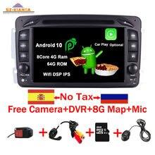 Lecteur DVD de voiture, avec Wifi, 3G, GPS, Bluetooth, Radio stéréo, sous Android 10.0, 7 pouces, pour Mercedes Benz CLK W209 W203 W463, en Stock