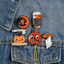 Brooch Jewelry Pins Metal Badge Lapel Vintage Cartoon Moon Halloween Ghost Pumpkin-Umbrella