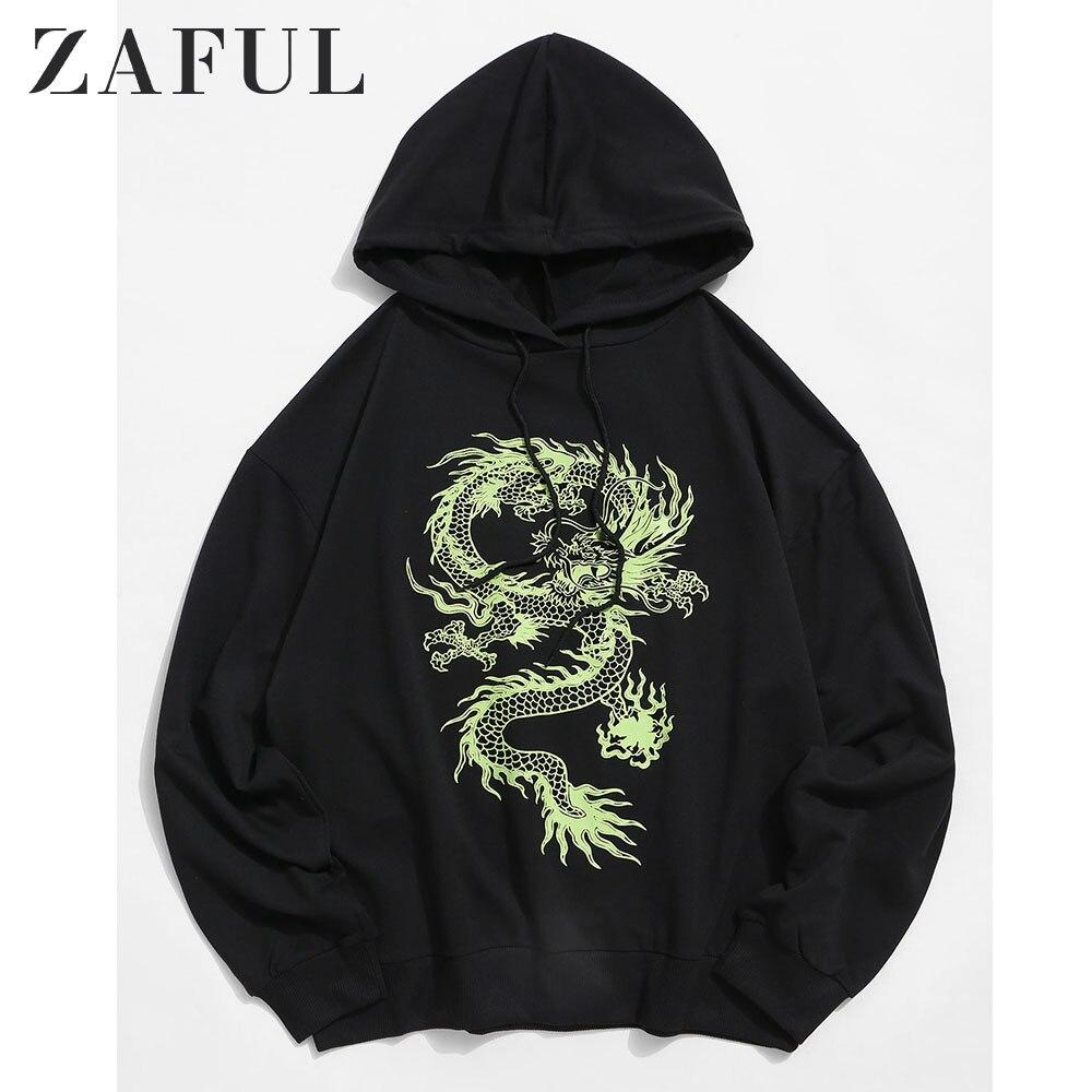 ZAFUL Hoodies Sweatshirts Men Dragon Graphic Drawstring Drop Shoulder Hoodie Menswear Casual Fall Cotton Dragon Coats Male