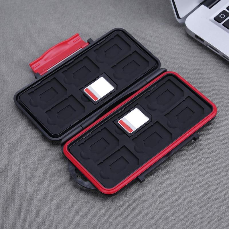 Micro SIM SD Card Case 12SD 12TF Card Storage Box Memory Card Case Waterproof Shockproof Large Capacity Box Black Red