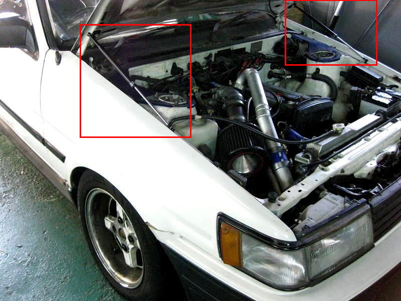 Fit Lancer Evolution EVO 4 5 6 Bonnet Hood Black Carbon Gas Strut Shock Damper