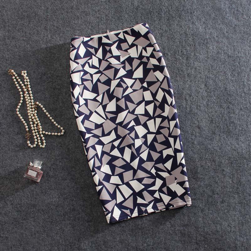 Vintage High Waist Skirts Women Summer Office Pencil Skirt Fashion Casual White Rose Flower Print Midi Knee Skirt Saia