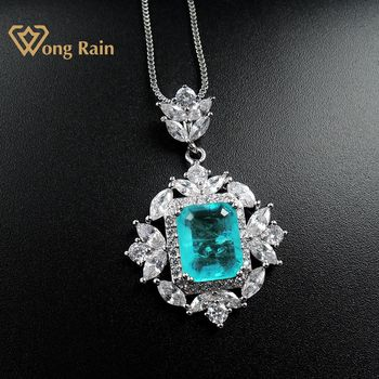 Wong Rain 925 Sterling Silver Created Moissanite Paraiba Tourmaline Gemstone Wedding Pendent Necklace Fine Jewelry Wholesale wholesale sale genuine 925 sterling silver feather necklace fine jewelry crystals from swarovski 925 jewelry beads