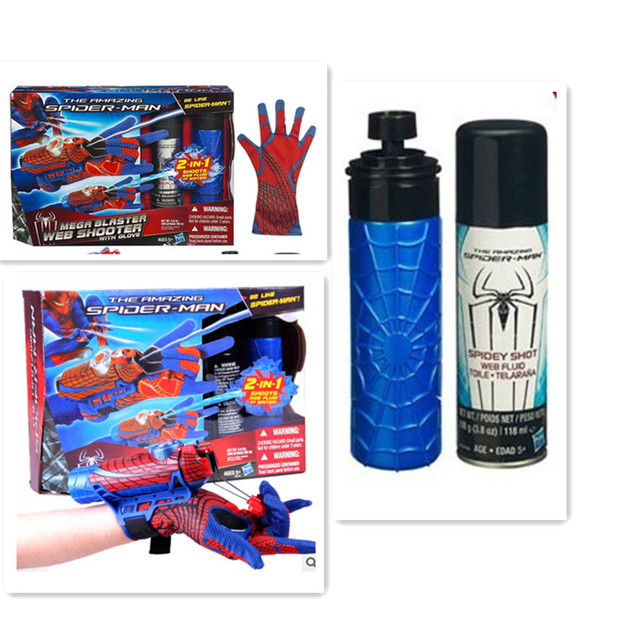 Spider man คอสเพลย์ mega blaster ถุงมือ Launchers PVC Action Figure Collection รุ่น Toy (Spider Shot Web ของเหลวไม่มีกล่อง)