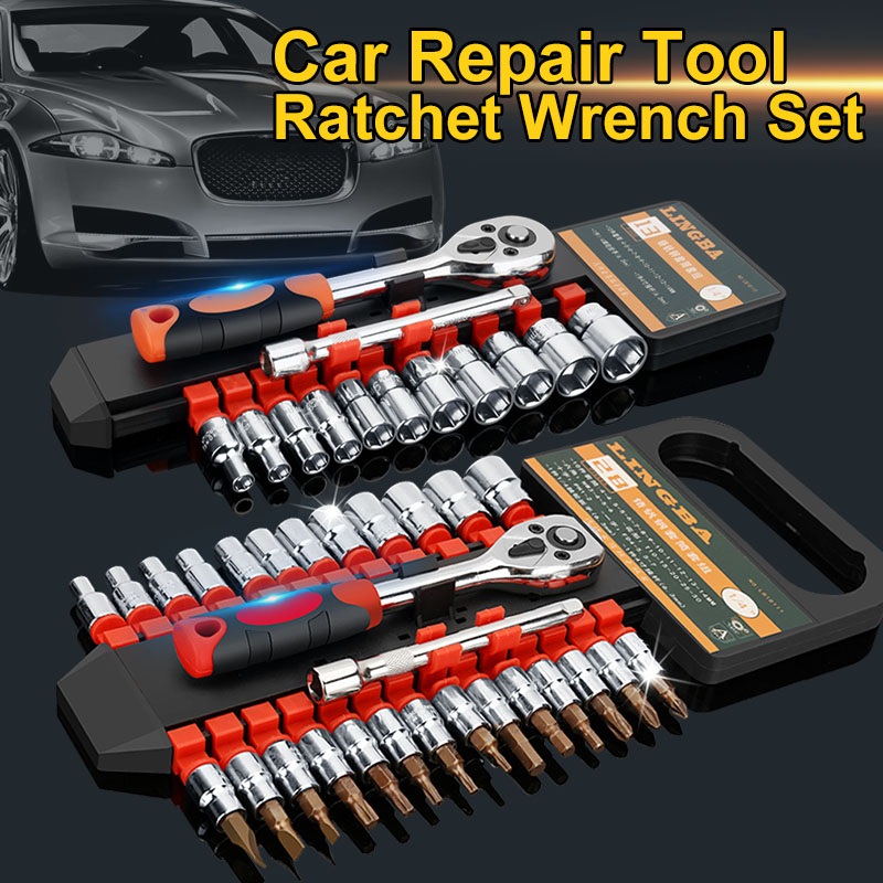 Car Repair Tool Set 1/4 Inch Ratchet Wrench Set Hand Socket Set Released Handle And Extension Bar For Bicycle Motorcycle Car