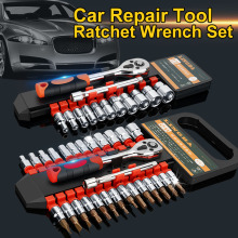 Car Repair Tool Set 1/4 Inch Ratchet Wrench Hand Socket Released Handle and Extension Bar for Bicycle Motorcycle
