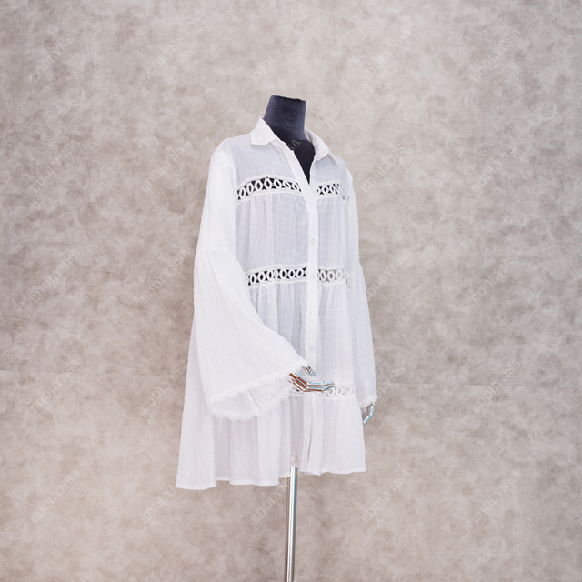 2021 Sexy White Dress Beach Tunic White Casual Simplicity Turn Down Collar Long Sleeve Hollow Out Cotton Summer Mini dress N1048 4