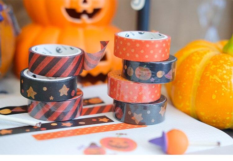 Witchcraft Magic Bat Pumpkin Gift Packaging Masking Tape Halloween Orange Black Washi Tape Halloween Theme BUJO Scrapbooking Washi