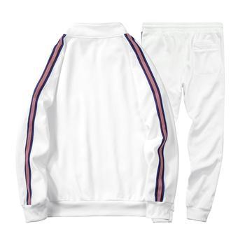 White Black Men Set Fashion 2021 Autumn Spring Brand Casual Sportswear Mens Tracksuit Sports Two Piece Striped Hoodie Pant Male 4