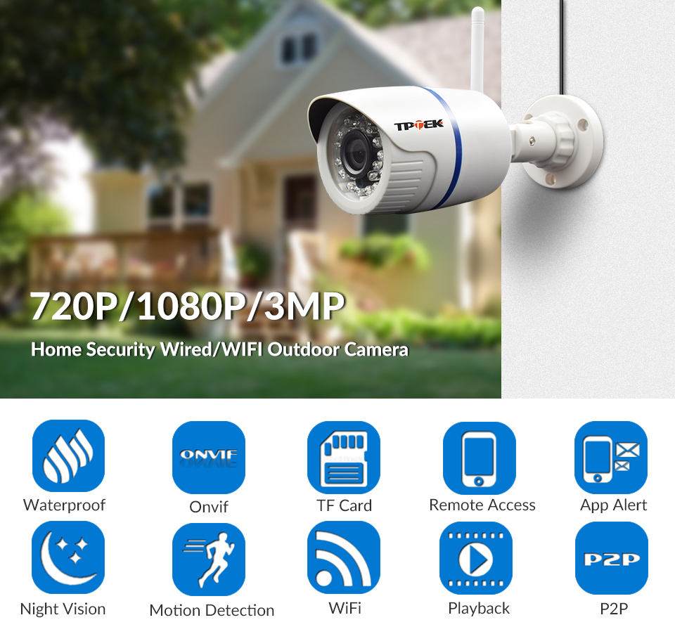 Hfedc71bee76645efae9dbd66d12c6620u HD 1080P IP Camera Outdoor WiFi Home Security Camera 720P 3MP Wireless Surveillance Wi Fi Bullet Waterproof IP Onvif Camara Cam