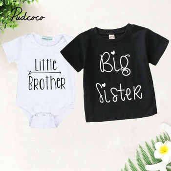 1PCS Family Matching Baby Little Sister Short Sleeve Letters Rompers Bodysuit Big Brother Cotton T-shirt Tops Kids Boys Clothing