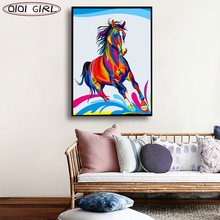 Horse Diamond Painting Diamond Embroidery Full Colourful Horse 5D Animal Full Square Picture Rhinestone Mosaic Diamond 5d diy full square round diamond horse landscape handmade diamond embroidery animal mosaic rhinestone picture decoration
