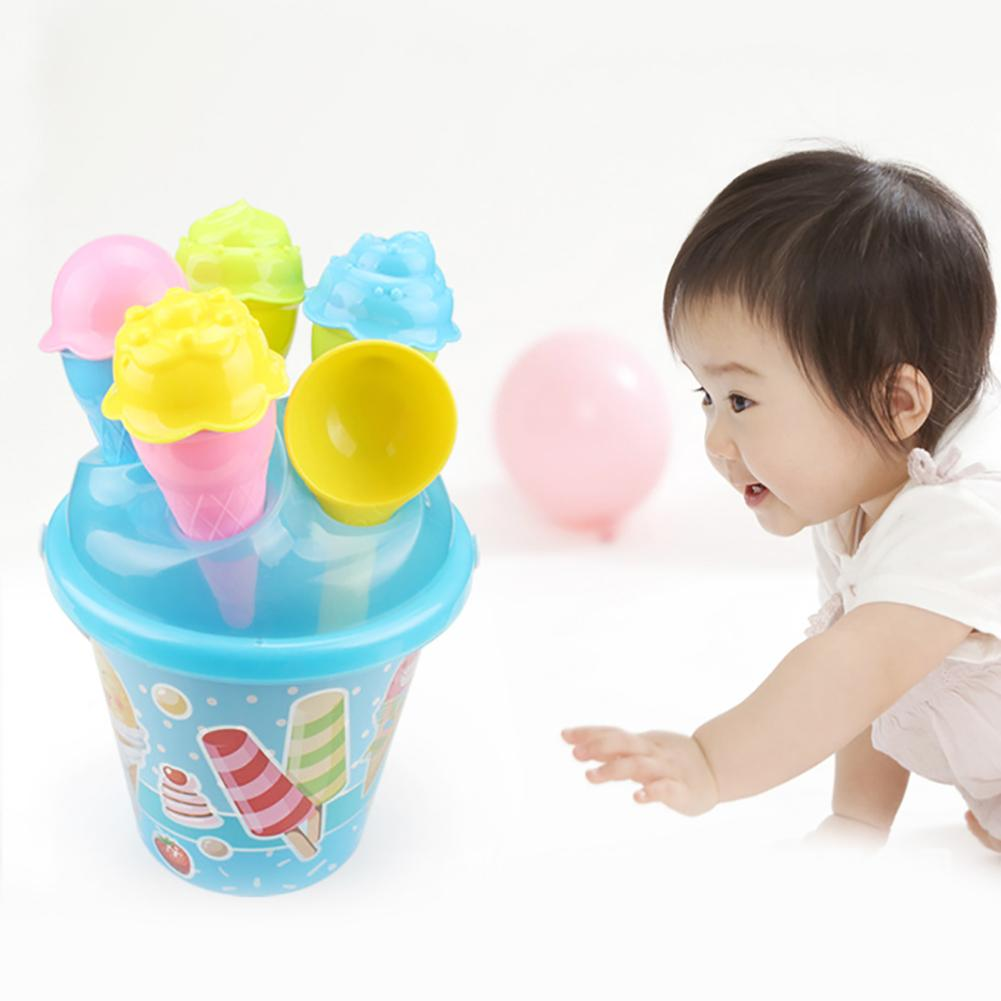 Kids Beach Colorful Ice Cream Cake Molds Spoon Pail Set Outdoor Play Sand Toy New