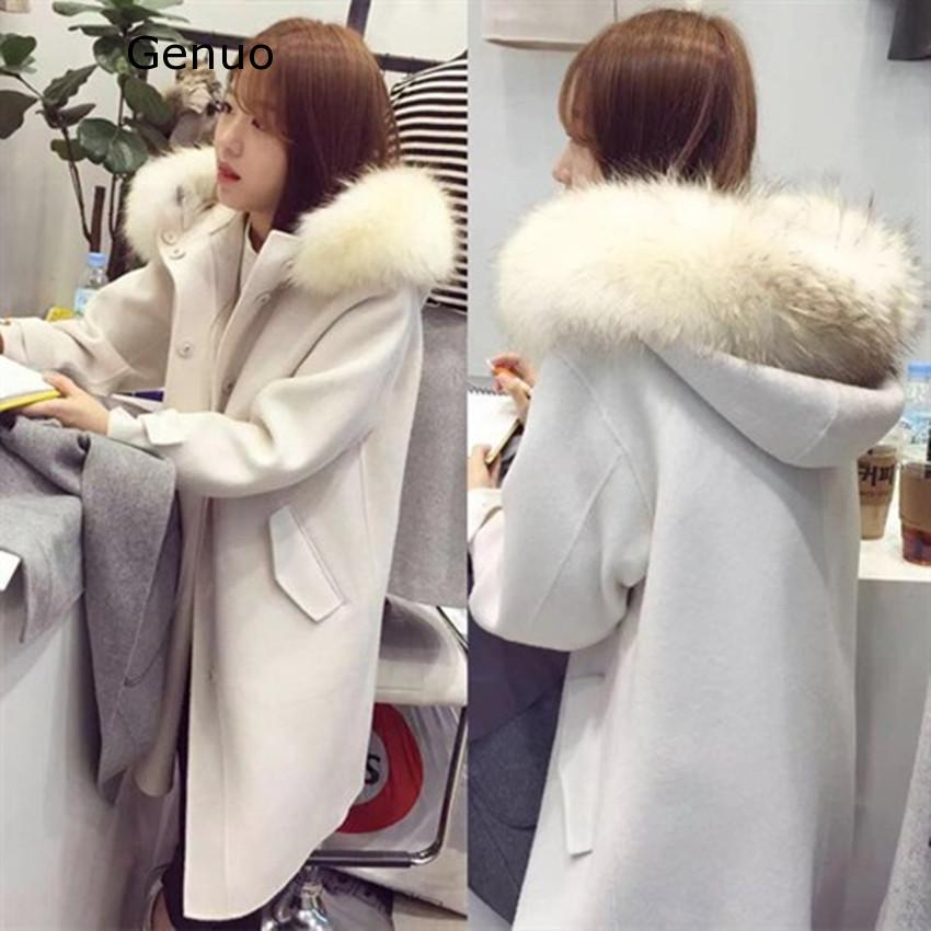 Genuo 2020 New Autumn And Winter Women's Hooded Woolen Coat And Long Sections Thicker Nagymaros Collar Woolen Coat Solid Color on AliExpress