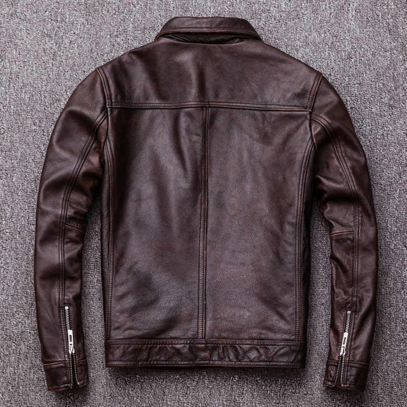 Vintage siyah gerçek deri ceket erkekler % 100% doğal dana derisi kırmızı kahverengi DERİ CEKETLER erkek deri ceket sonbahar M174 2021