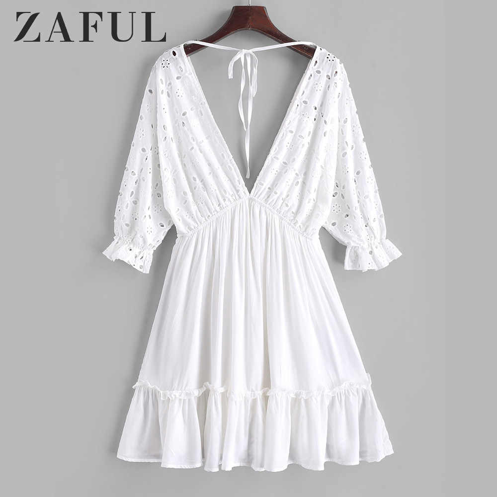 Zaful Lubang Diikat Kembali Mini Garis A Gaun Lengan Panjang 3/4 Wanita Renda Putih Dress V-Leher Liburan Renda Up Tinggi dress