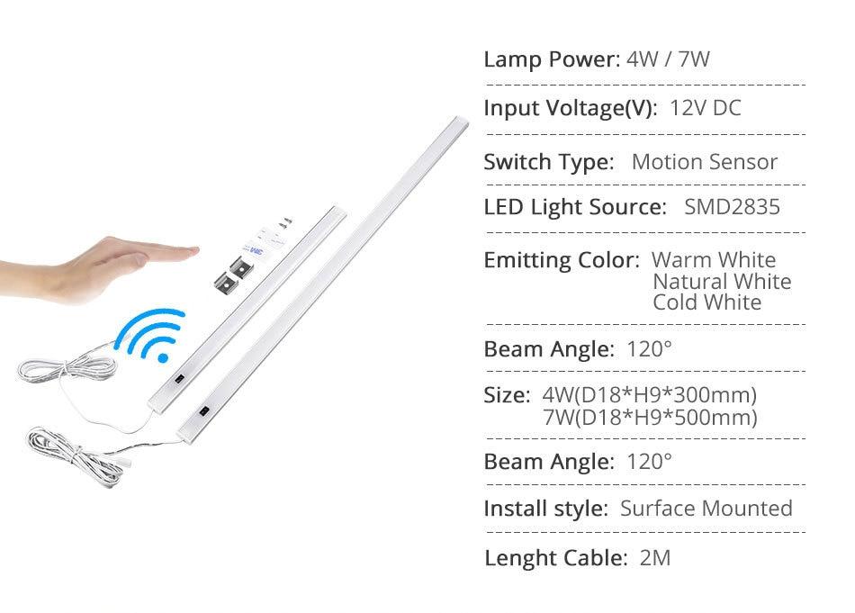 White 12V Under Cabinet Lights LED Motion Sensor Kitchen Wardrobe Night Lights Cabinet Lamp Display Case Wardrobe Cupboard Light (3)