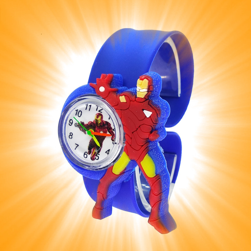 Dropshiping Fashion Cartoon Anime Clock Student Iron Man Kids Quartz Watch Child Boys Baby Gift Relogio Infantil Montre Enfant