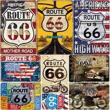 Rota 66 Placa Mãe da América Estrada Do Metal Do Vintage Sinais Estanho Bar Café Casa Decoração Ao Ar Livre Rota Histórica N361 Cartaz Arte Da Parede
