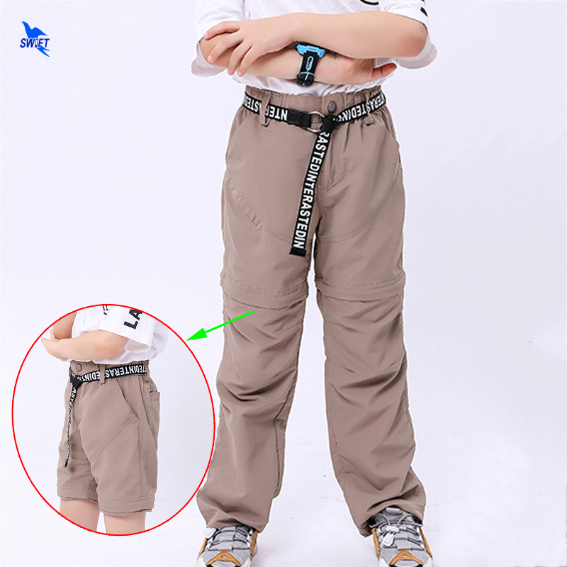 Autumn Spring Quick Dry Waterproof Kids Outdoor Pants Boys Girls Sports Hiking Trousers Children Detachable Shorts+Pants Outfits