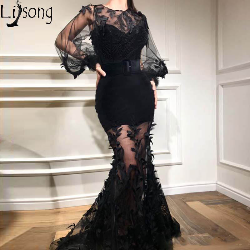 Charming Long Sleeves Mermaid Evening   Dress   Black Modest Appliqued Formal   Prom     Dresses   Party Gown robe de soiree robe de mariee