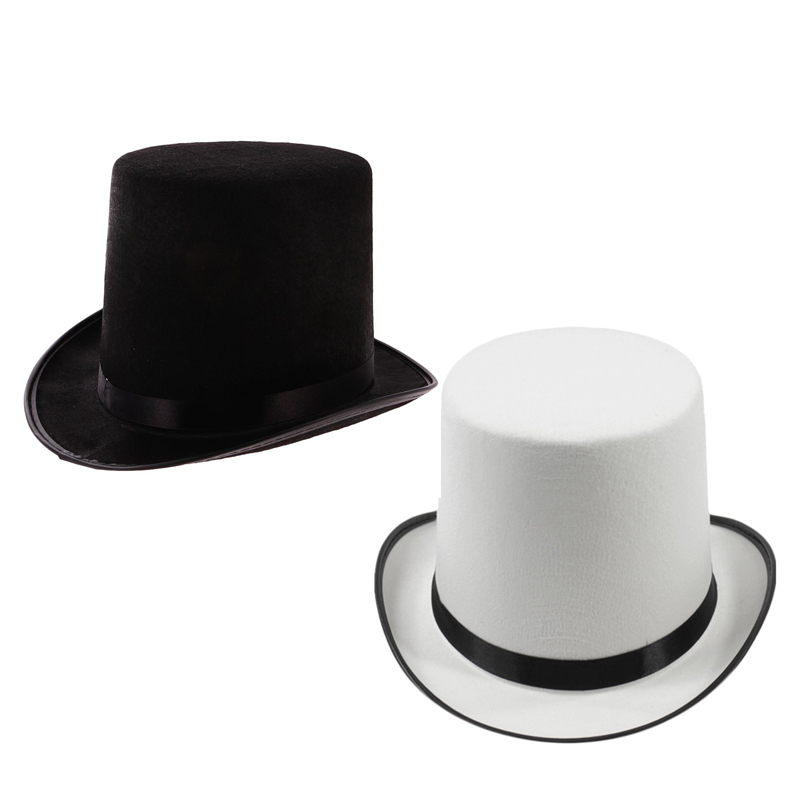 Fedora Hat Steampunk Derby White Women Party Formal Mad Hatter Topper Magician-Hat title=