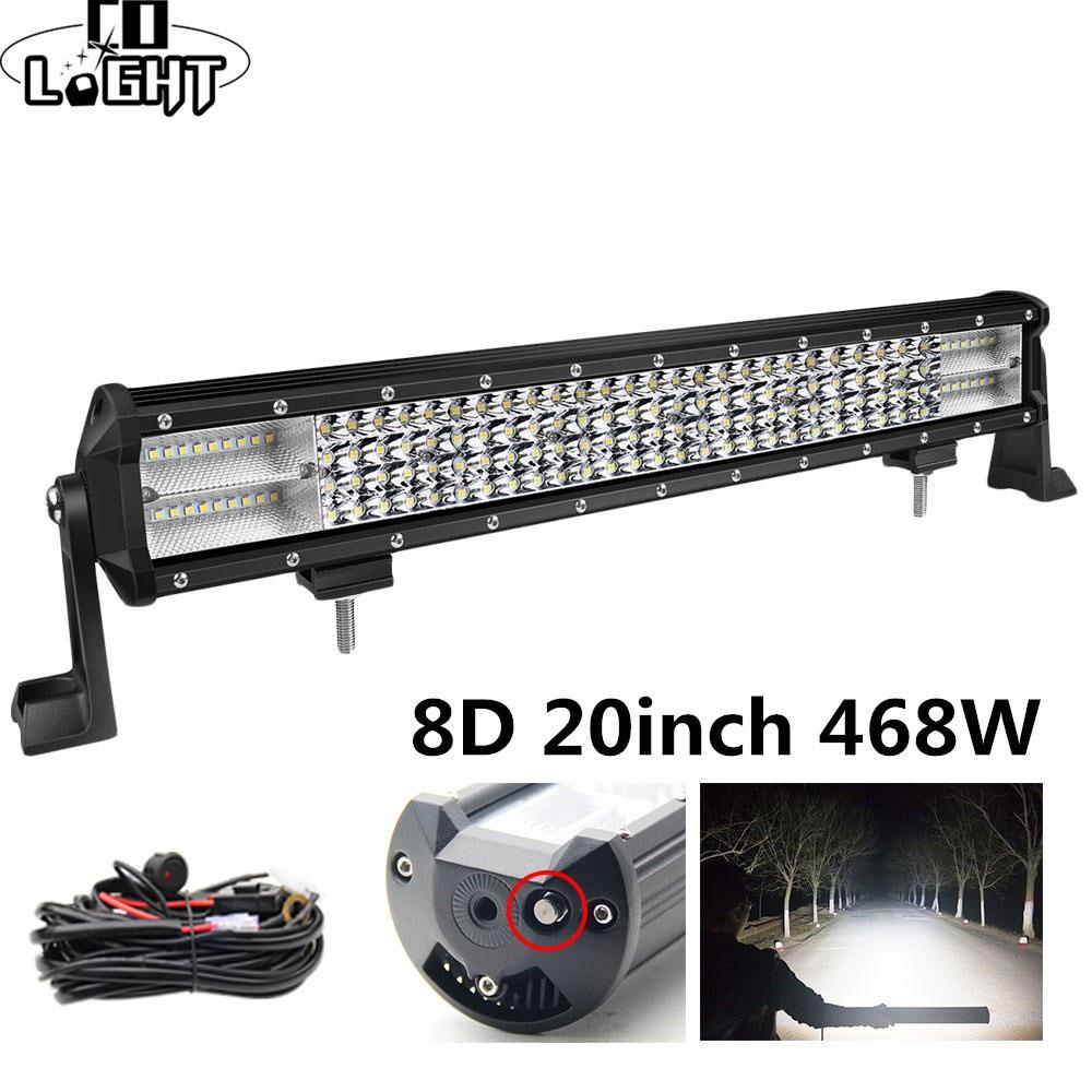CO LIGHT 8D Led Bar 20Inch 468W 4X4 Led Worklight 12V 24V Spot Flood Led Light Bar For Auto Tractor Truck Lada Niva UAZ ATV SUV